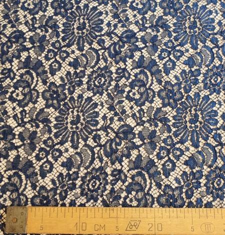 Marine blue chantilly natural lace fabric. Photo 8