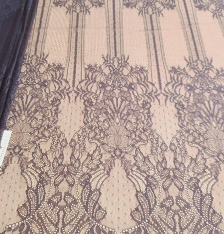 Navy blue lace fabric, French lace fabric. Photo 8