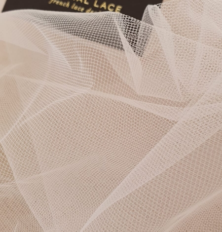 Light pink middle hard tulle fabric. Photo 7