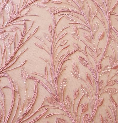 Raspberry pink leaf pattern embroidery with sequins on soft tulle fabric. Photo 4