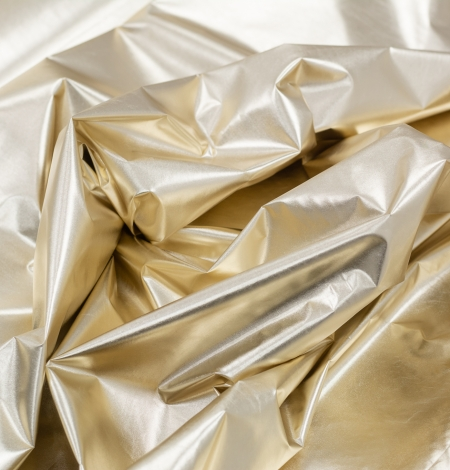 Gold color shiny rain coat fabric. Photo 5