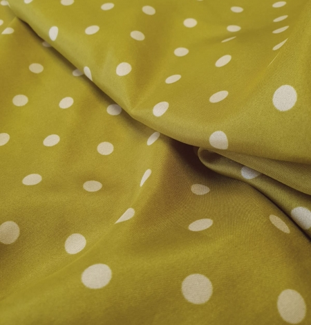 Olive green white dotted silk lining fabric. Photo 8