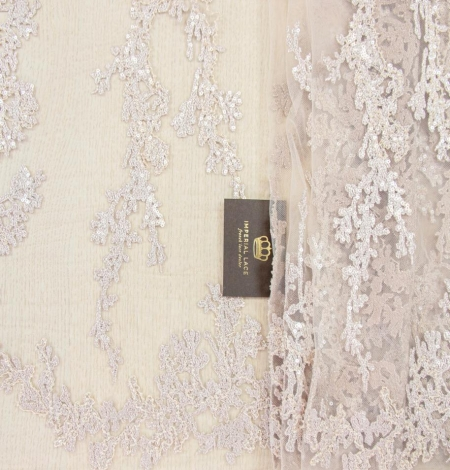 Nude organic pattern embroidery with sequins on tulle fabric. Photo 1
