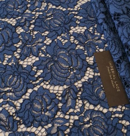 Dark blue cord thread lace fabric. Photo 5