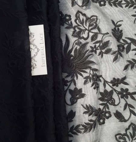 Black embroidery lace fabric. Photo 1