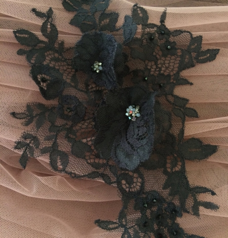 Black applique with 3D flowers and crystals. Photo 1