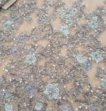 Grey beaded embroidery lace fabric. Photo 3