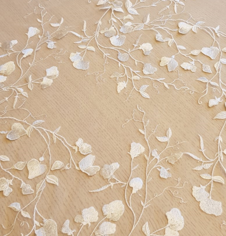 White 3D lace fabric. Photo 3