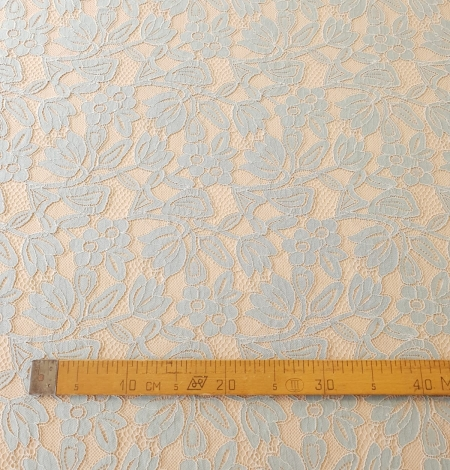 Beige with blue 70% cotton with 30% polyester guipure lace fabric . Photo 5
