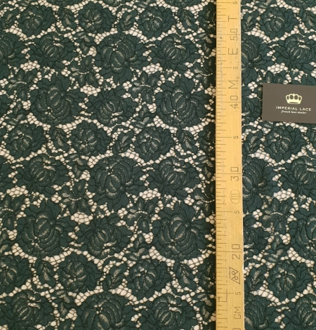Dark green cotton polyester chantilly lace fabric . Photo 6