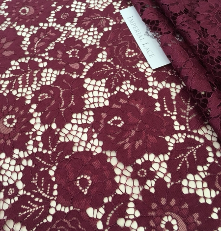 Wine red lace fabric. Photo 5