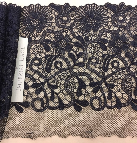 Blue-gray embroidery on soft black tulle. Photo 1