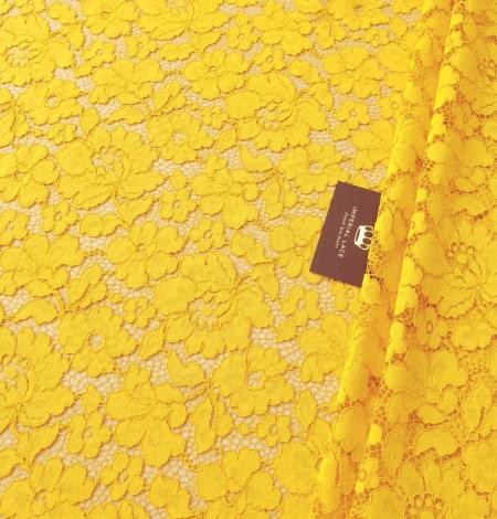 Yellow guipure lace fabric. Photo 1