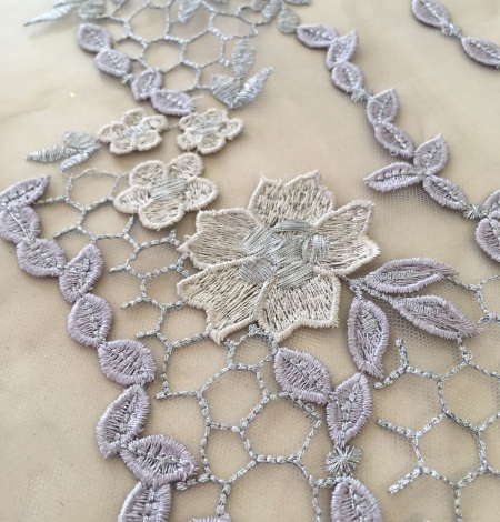 Greyish blue embroidery on tulle fabric. Photo 3