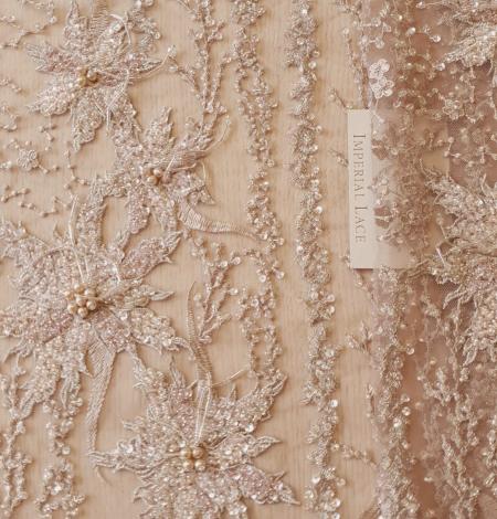 Multicolor beaded lace fabric. Photo 4