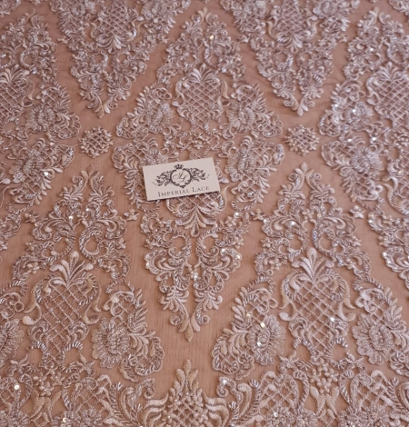Luxury brown beaded lace fabric. Photo 5