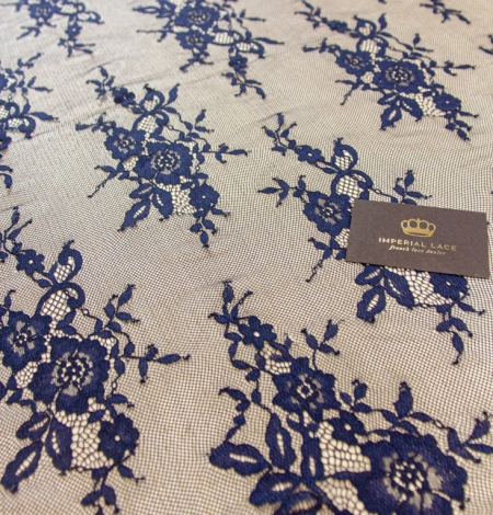 Dark blue floral pattern chantilly lace fabric. Photo 5