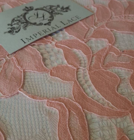 Salmon Pink Lace Trim. Photo 2