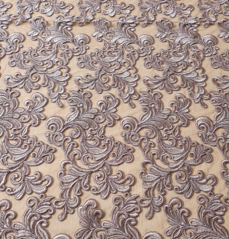 Grey embroidery lace fabric. Photo 2