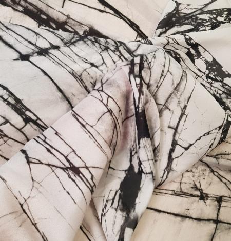 White and black marble pattern silk crepe chiffon fabric . Photo 5