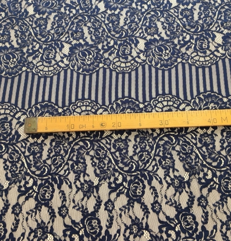 Dark blue lace fabric. Photo 8