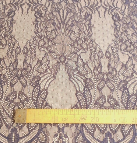 Navy blue lace fabric, French lace fabric. Photo 7