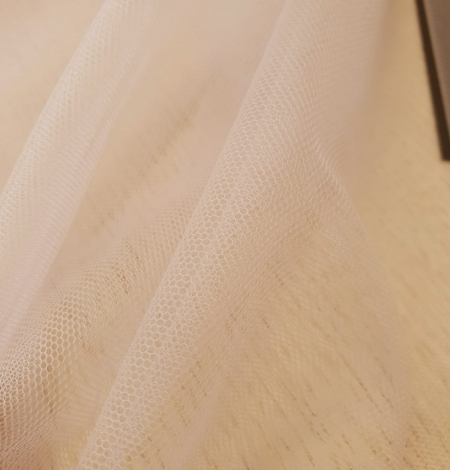 Beige invisible tulle fabric from Italy. Photo 2