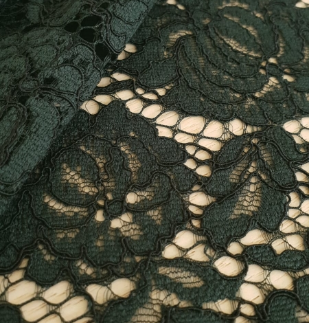 Dark green cotton polyester chantilly lace fabric . Photo 5