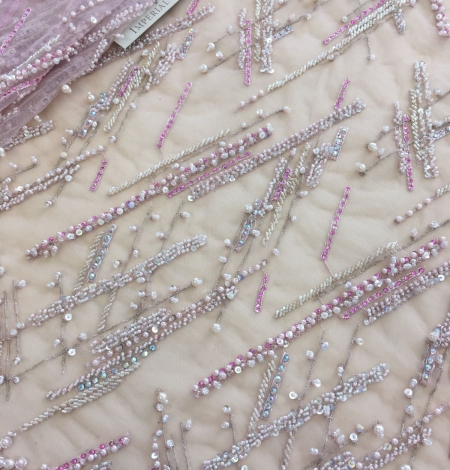 Pink beaded lace fabric. Photo 4