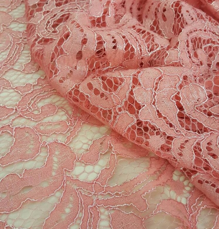 Salmon Lace Fabric. Photo 1