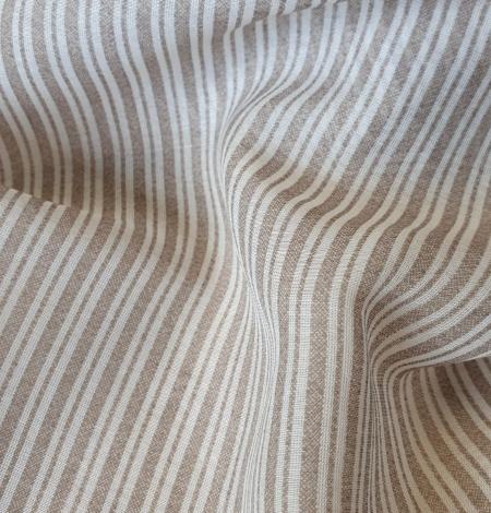 Grey with white stripes viscose fabric. Photo 6