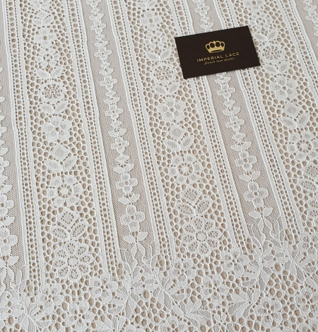 Ivory chantilly floral and stripes lace fabric. Photo 6