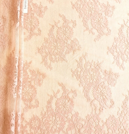 Powder color Chantilly lace fabric . Photo 4