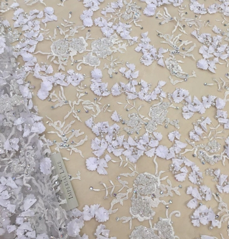 White 3D flowers lace fabric with beads. Photo 1