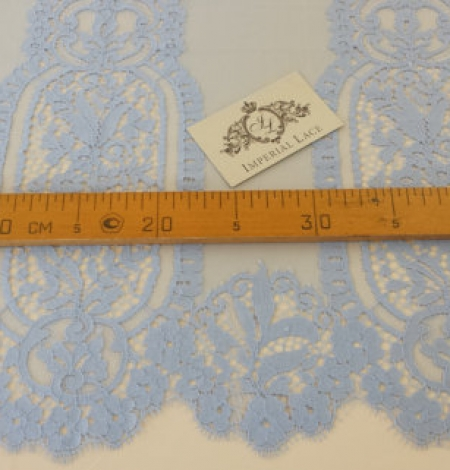 Blue chantilly lace fabric . Photo 5