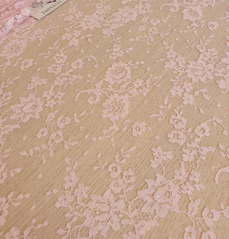 Pink cotton chantilly lace fabric. Photo 3