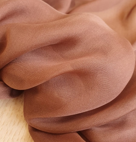 Brown silk chiffon fabric. Photo 4