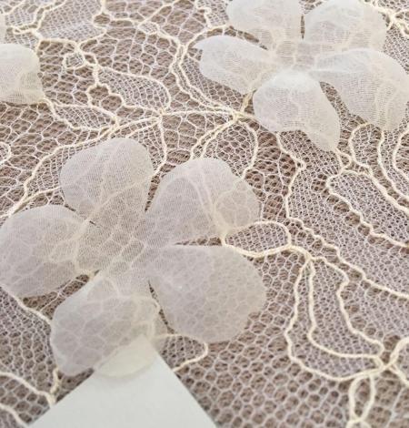 Ivory organza fabric flower applique per 5 pieces. Photo 1