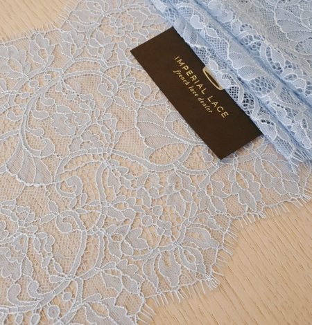Light blue floral pattern chantilly lace trimming. Photo 1