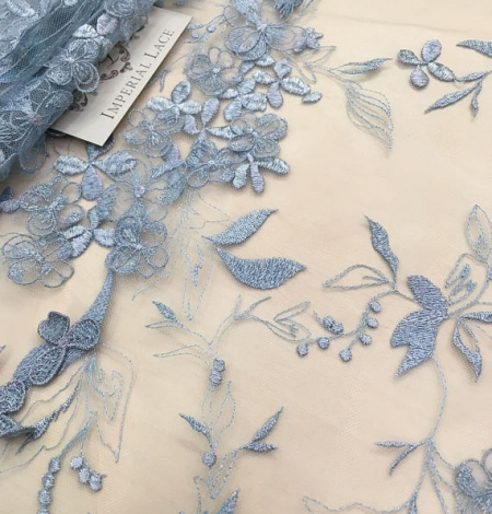 Blue grey flowers lace fabric. Photo 1