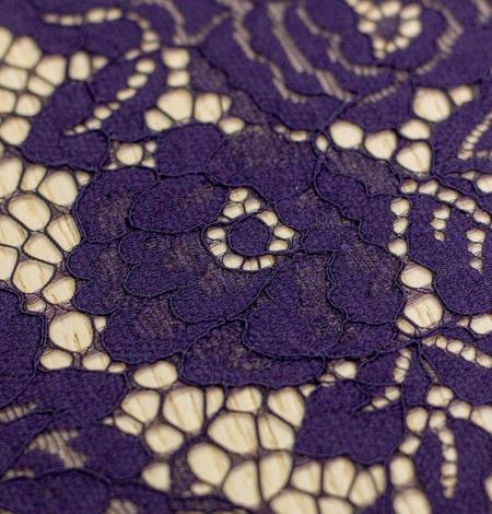 Dark purple floral guipure lace fabric . Photo 4