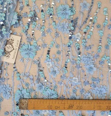 Blue 3D floral organic pattern on tulle fabric. Photo 6