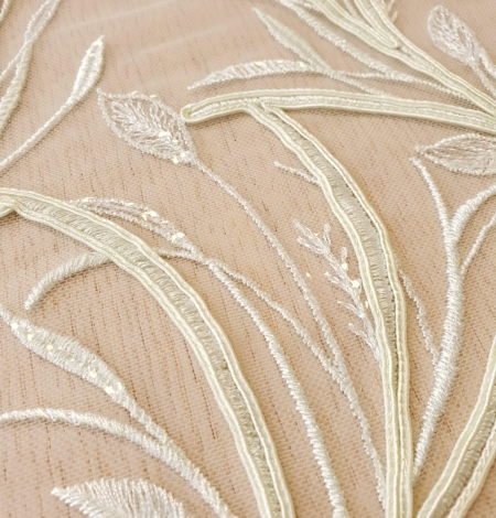 Light green leaf pattern embroidery on tulle fabric. Photo 5