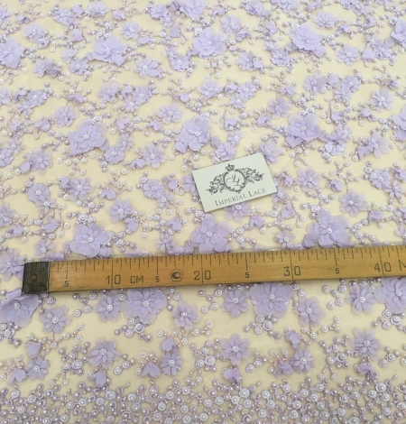 Purple beaded 3D floral lace fabric. Photo 4