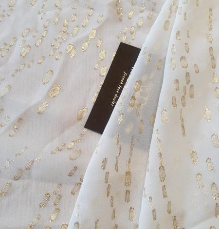 Ivory with gold dots silk crepe chiffon fabric. Photo 1