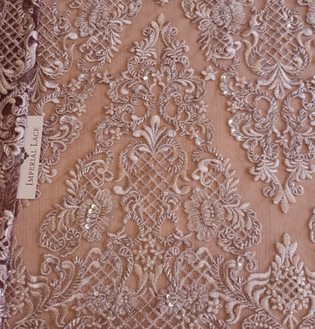 Luxury brown beaded lace fabric. Photo 1
