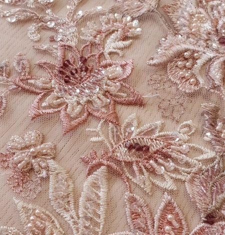 Pink beaded floral lace fabric. Photo 8