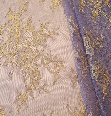 Purple with gold chantilly lace fabric. Photo 2