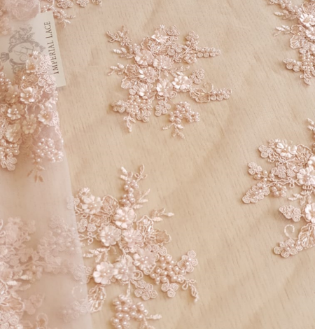 Powder pink 3D embroidery on tulle fabric. Photo 2