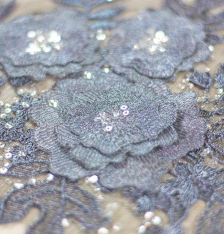 Dark grey 3D floral beaded lace applique 2 pcs set . Photo 1